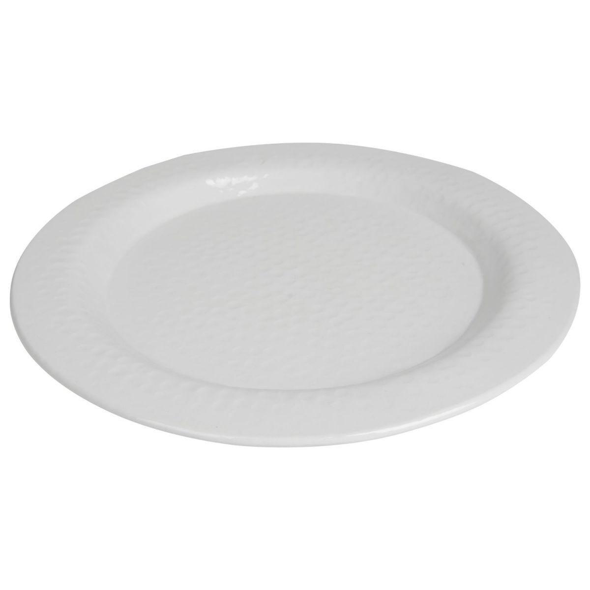 bord rond gehamerd wit 39cm