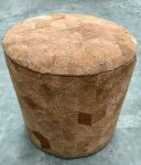 Poef ø 39 hg 40 cm Recycled Italiaanse Suede geometrisch patroon