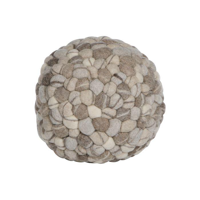 poef rond vilt steenmotief 40 cm natuurlijke grijsbruintinten