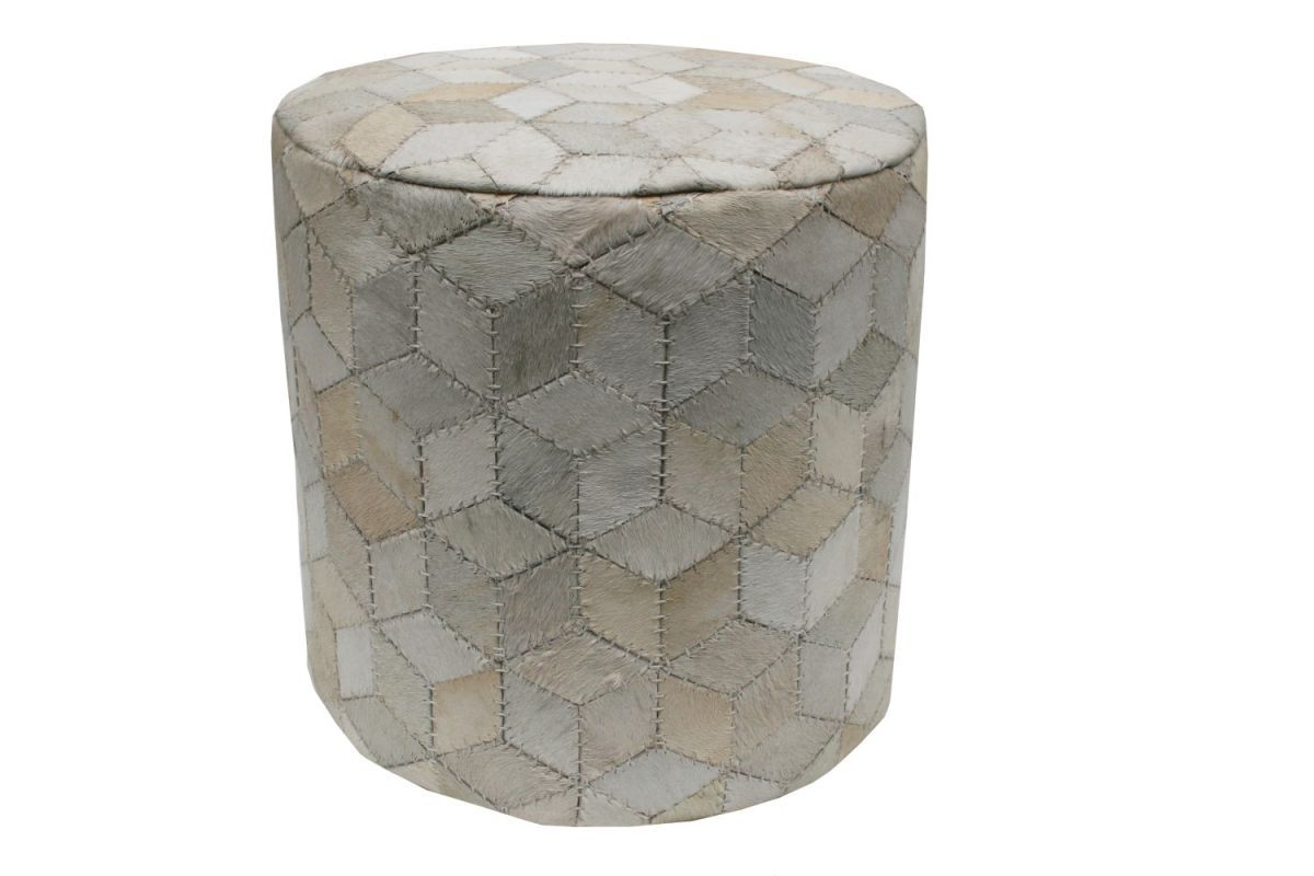 pouf 40cm hg40cm hair on hide ivory geometric