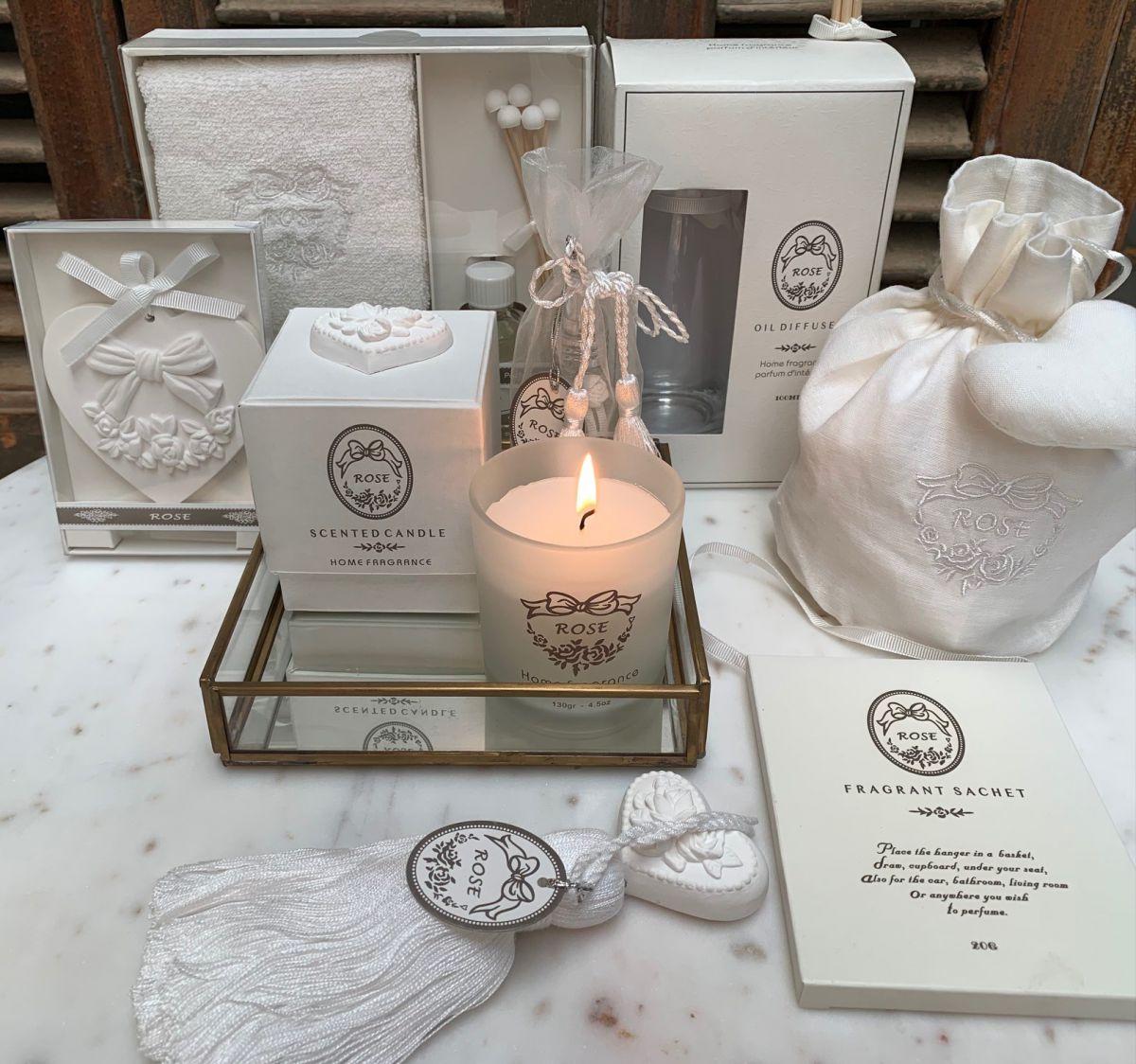rose giftset de luxe wtowel stones oil diffuser