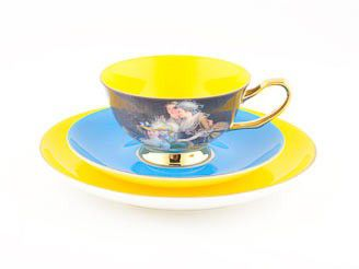 royal ladies yellow cupsaucerplate