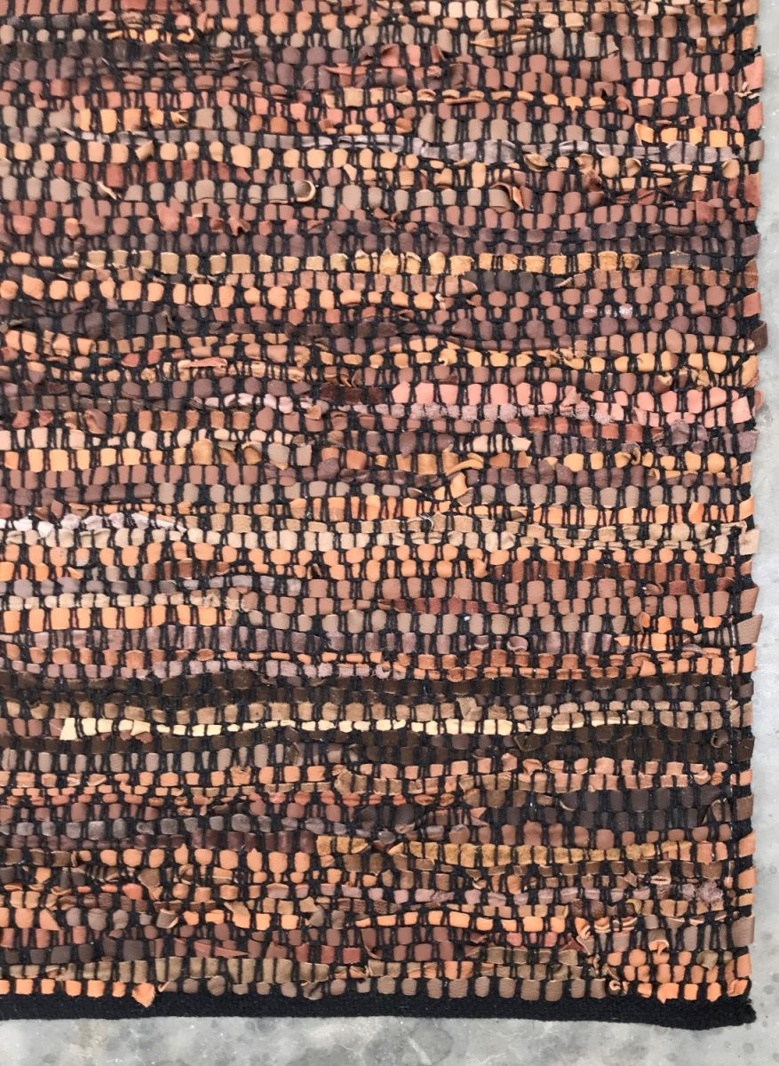 rug brown leather black cotton stitching 80x140cm