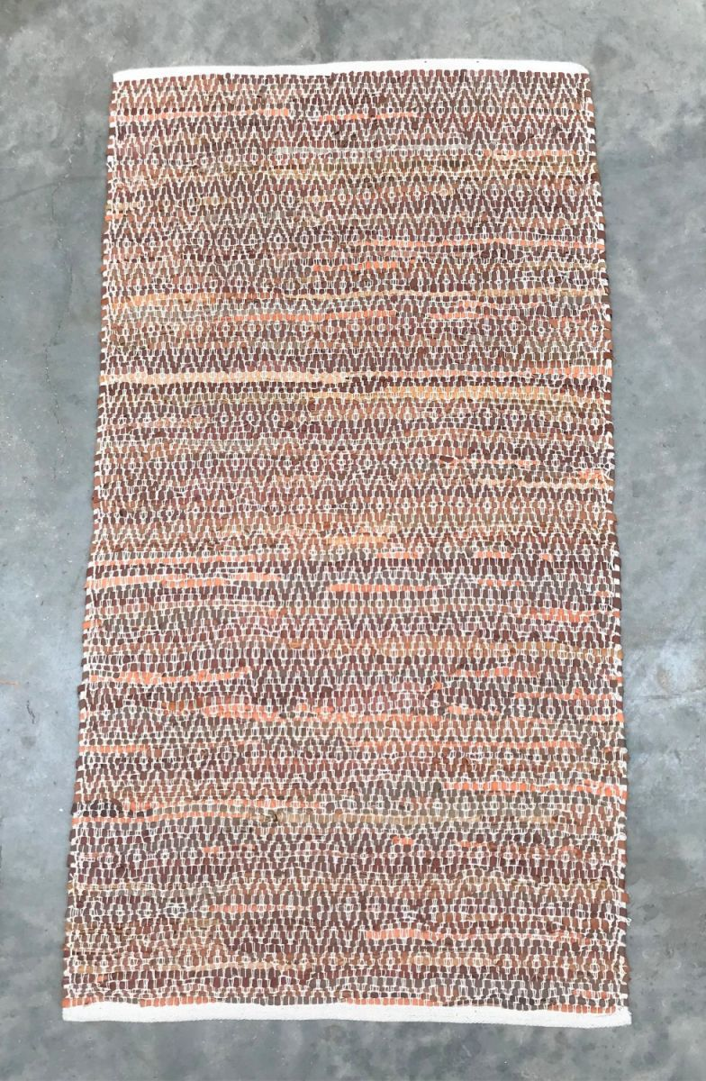 rug brown leather white cotton stitching 250x350cm