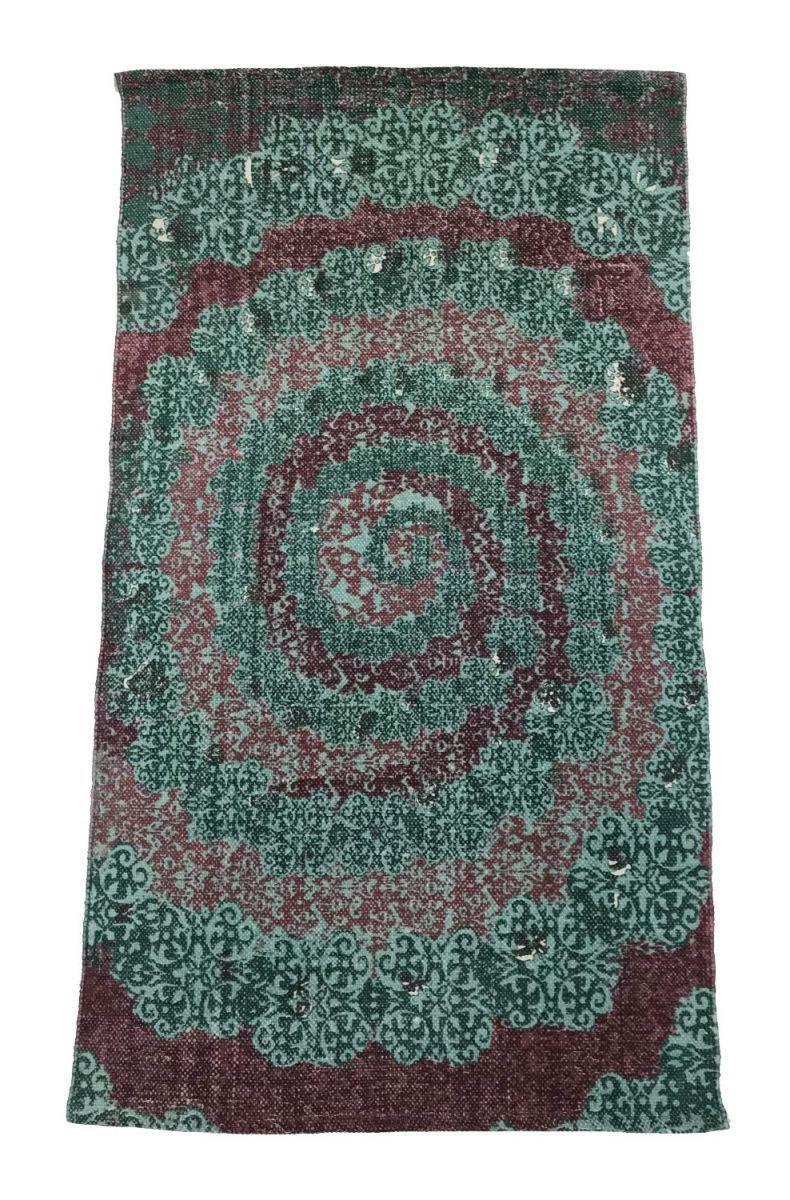 rug cotton blockprint design circle green red 90x150cm