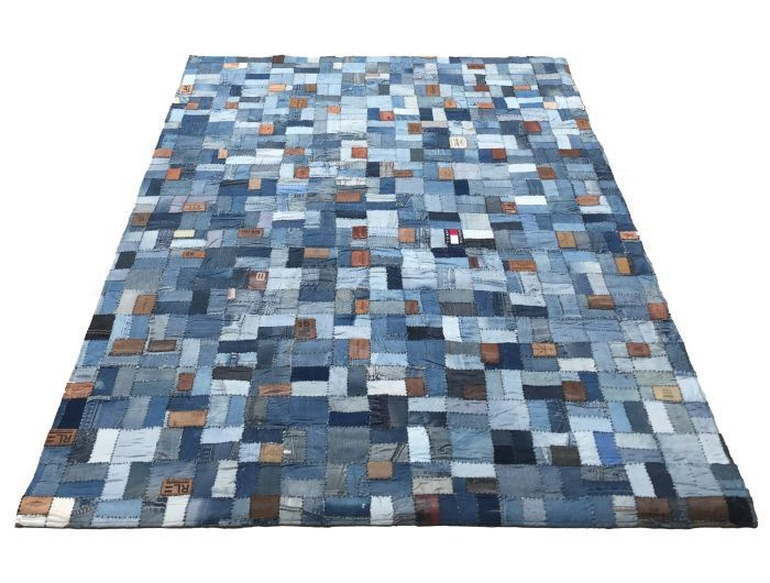 rug recycled denim with labels 160x230cm