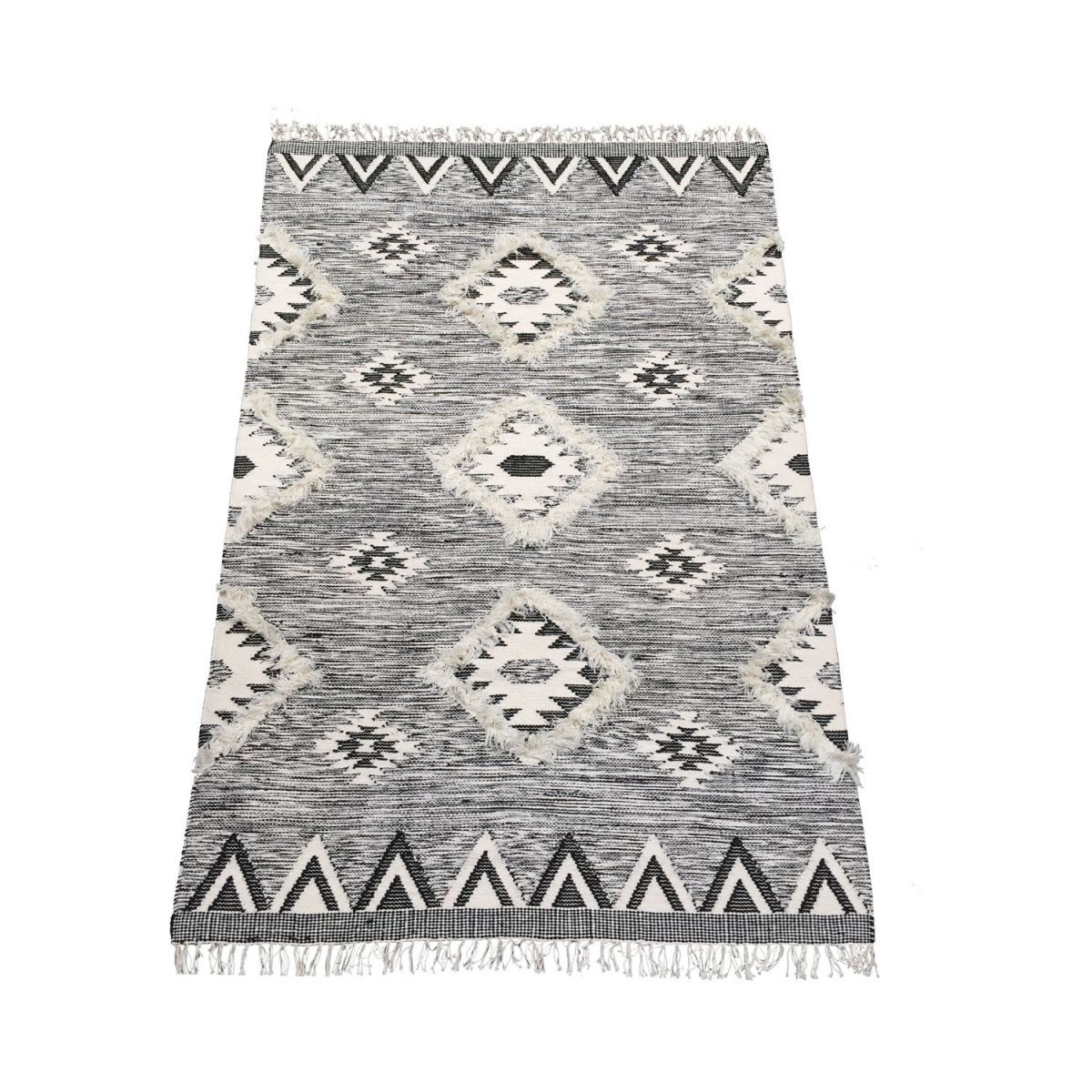 rug wool woven graphic design black white 200x300cm