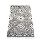Rug wool woven graphic design black white 200x300cm