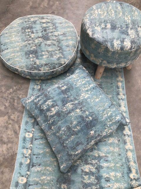 stool wood linen turquoise 50 cm hg 40 cm