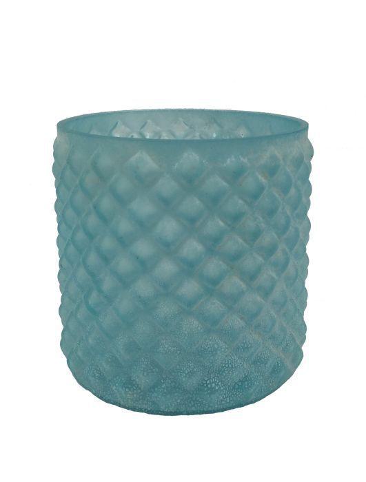tealite holder glass wyber pattern seablue 10x10cm