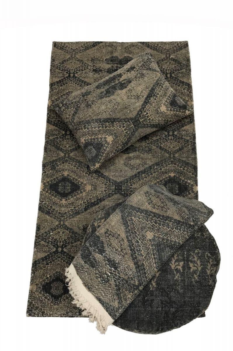 throw cotton blockprint design grey diamond 125x150cm