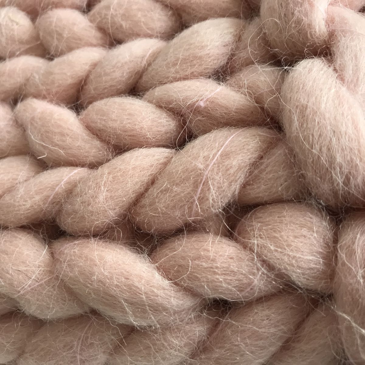 throw knitted pure wool blush pink125x150cm