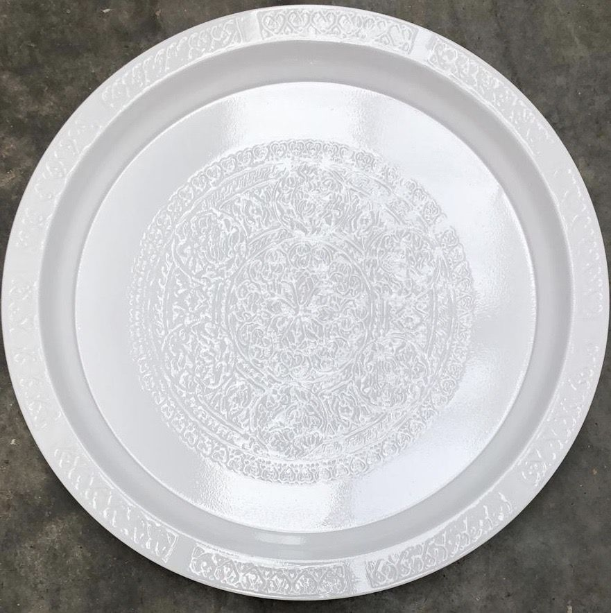 tray engraved metal wit round 45 cm hg 25 cm