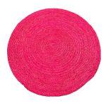 Vloerkleed gevlochten fuchsia rose jute ø 120cm