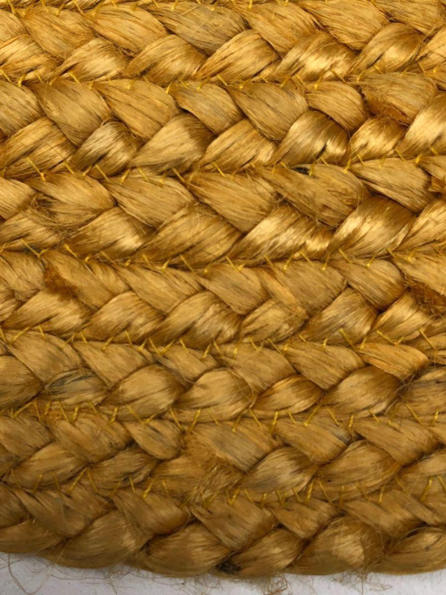 vloerkleed gevlochten jute okergeel 200cm rond