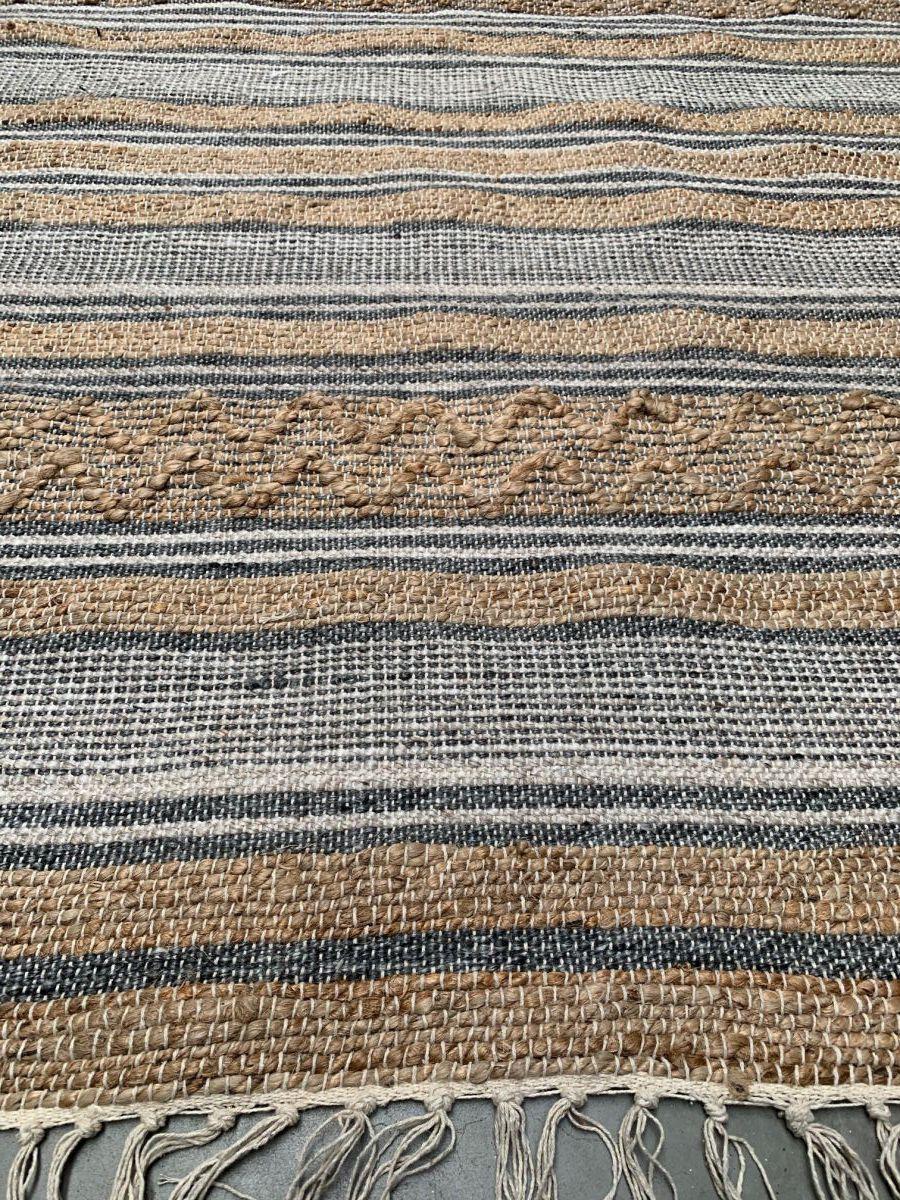 vloerkleed geweven jute grijs wol wit pet katoen 200x300cm