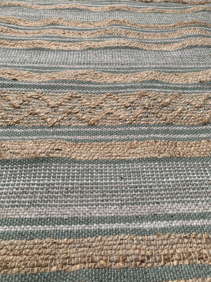 vloerkleed geweven jute salie wol wit pet katoen 160x230cm