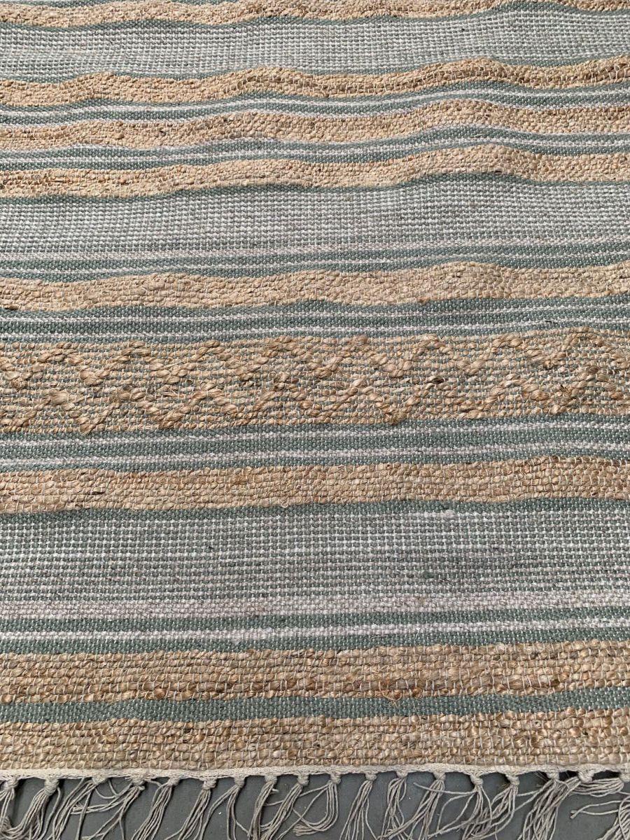 vloerkleed geweven jute wol pet salie wit 200x300cm