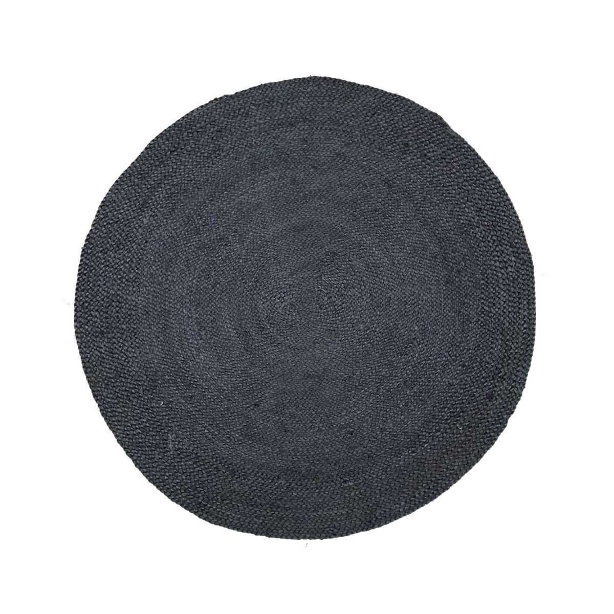 vloerkleed jute gevlochten rond 120cm zwart