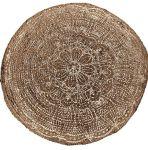 Vloerkleed jute geweven rond print rose goud 120cm