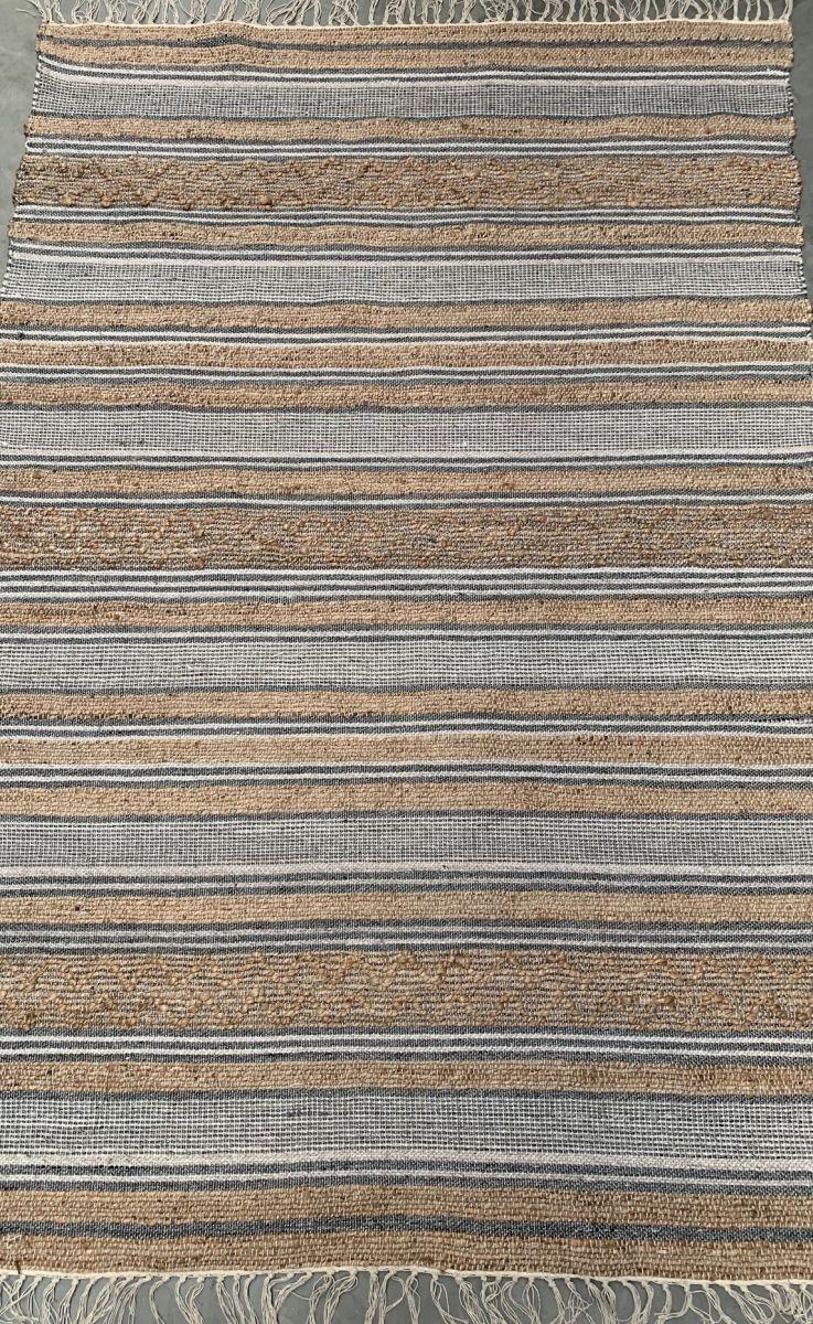 vloerkleed jute grijs wol wit pet katoen 160x230cm