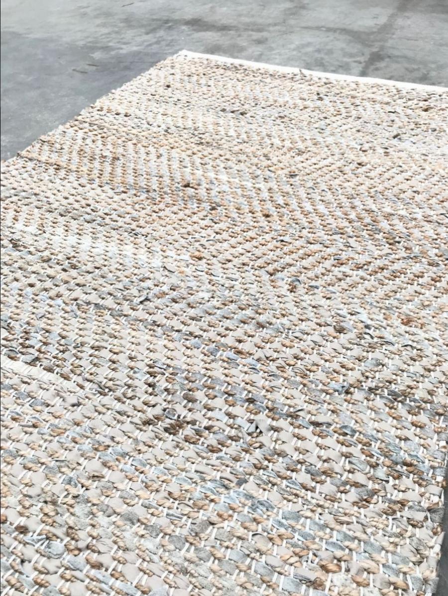 vloerkleed jute leer beige geweven 80x140cm