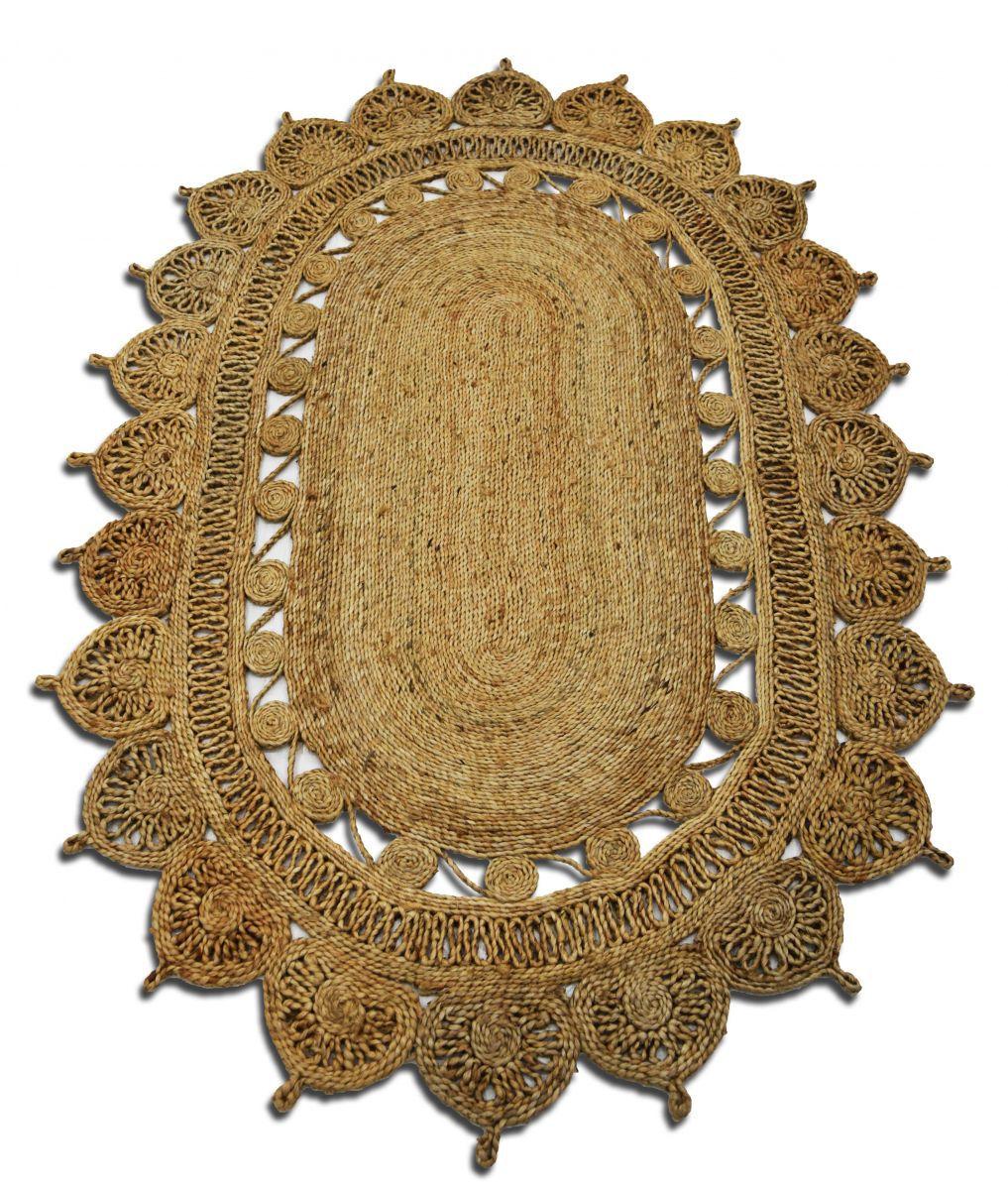 vloerkleed jute naturel ovaal 120x180cm 100 handgemaakt
