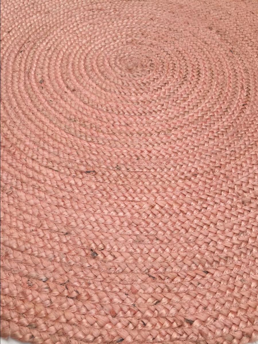 vloerkleed jute rond 120cm poederroze