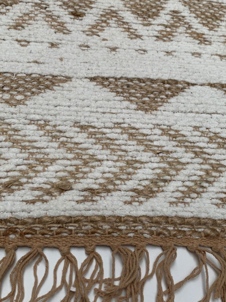 vloerkleed naturel jute katoen en wit chenille 160x230cm
