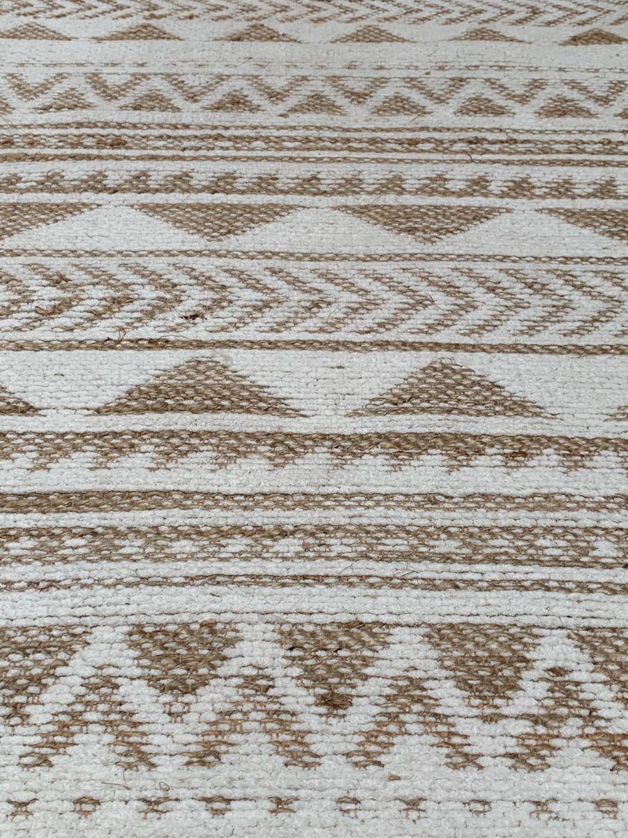 vloerkleed naturel jute katoen en wit chenille 80x140cm