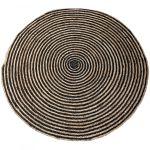 Vloerkleed rond 150 cm jute concentrisch zwart naturel
