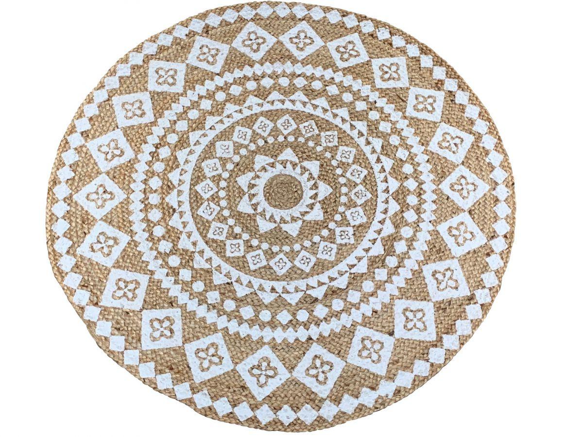 vloerkleed rond jute wit mandala print 120 cm