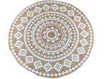 Vloerkleed rond jute wit Mandala print ø 120 cm