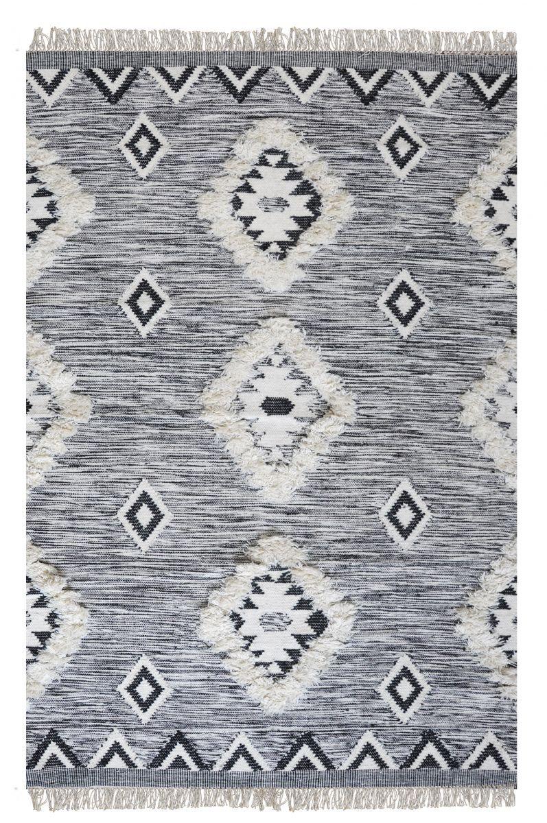 vloerkleed wol macram zwartwit 244x 305cm