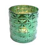 Waxine holder glass green 16x15 cm