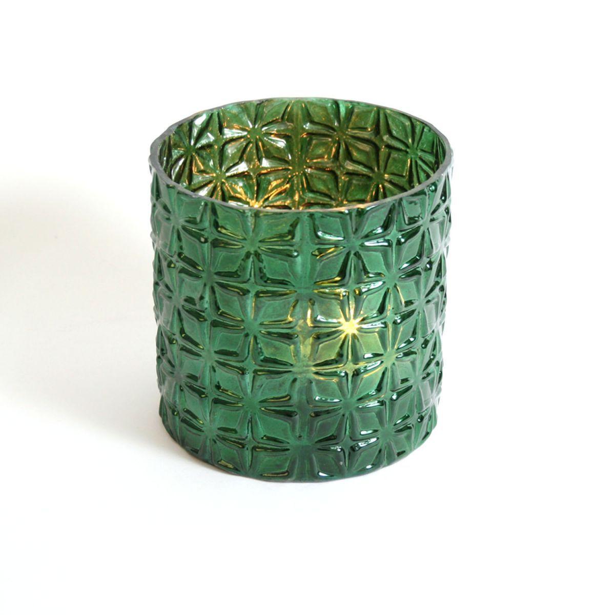 waxinehouder glas groen 13x13 cm