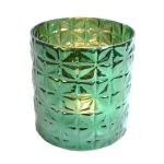 Waxinehouder glas groen 16x15 cm
