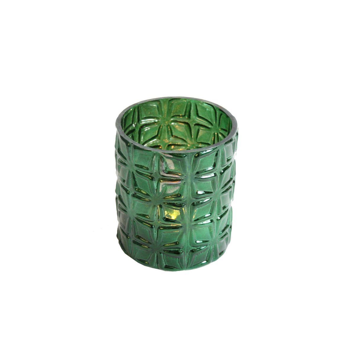 waxinehouder glas groen 9 x 8 cm